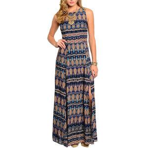 🆕 Blue Paisley Prints Maxi Dress